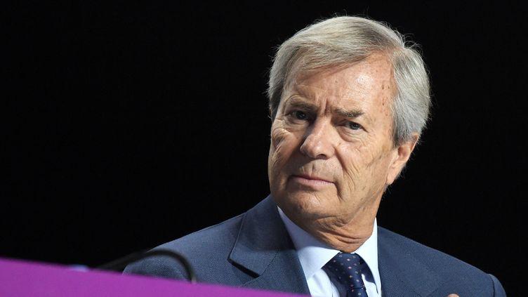 Vincent Bolloré, président du groupe Canal+, en 2018. (ERIC PIERMONT / AFP)