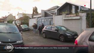 Le pavillon dans lequel a eu lieu une soirée clandestine rassemblant plus de 300 personnes, à Joinville-le-Pont (Val-de-Marne), le 14 novembre 2020. (FRANCE 2)