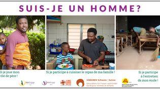 """Images à l'appui, la campagne de sensibilisation lancée en janvier 2021 par l'ONG MenEngage Togo vise à encourager les hommes à vivre une """"masculinité positive"""". (MENENGAGE TOGO)"""