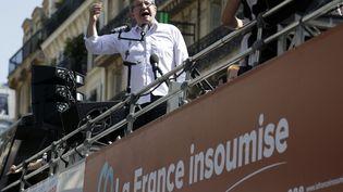 Jean-Luc Mélenchon, lors de la Fête à Macron, le 5 mai 2018 à Paris. (THOMAS SAMSON / AFP)