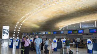 Des passagers attendent devant le comptoir d'Air France à l'aéroport de Roissy-Charles-de-Gaulle, le 27 juillet 2016. (MAXPPP)
