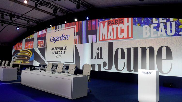 L'assemblée générale du groupe Lagardère, le 10 mai 2019 à Paris. (ERIC PIERMONT / AFP)