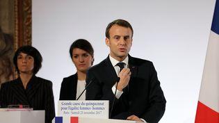 Le président de la République, Emmanuel Macron, le 25 novembre 2017 à l'Elysée. (LUDOVIC MARIN / AFP)