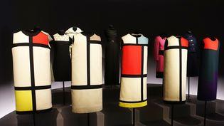 Robes Mondrian exposées au musée YSL Paris, février 2019  (Corinne Jeammet)