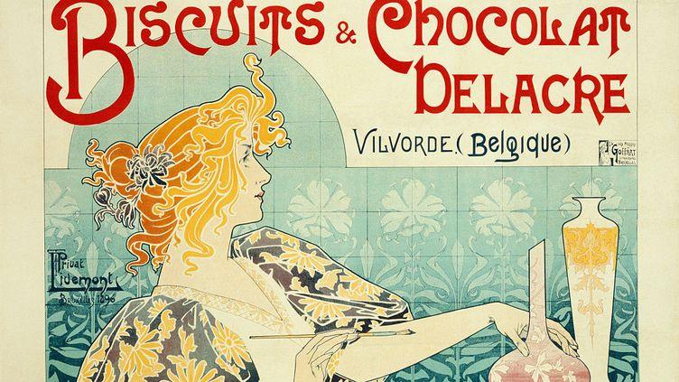 Affiche publicitaire vintage pour les gâteaux et les chocolats Delacre. (SWIM INK 2 LLC / CORBIS HISTORICAL / GETTY IMAGES)