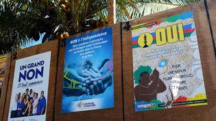 Des affiches de campagne en Nouvelle-Calédonie pour le référendum du 4 novembre 2018. (THEO ROUBY / AFP)