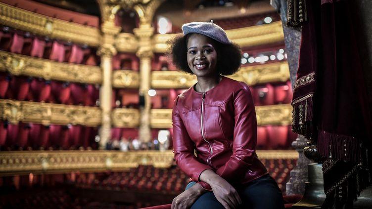 La soprano sud-africaine Pretty Yende à l'Opéra Garnier, le 10 septembre 2019, à Paris. (STEPHANE DE SAKUTIN / AFP)