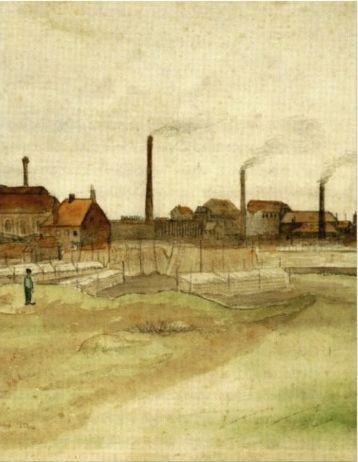 Mine de charbon dans le Borinage, Vincent van Gogh. Couleur pour aquarelle.  (Musée de Van Gogh,  Amsterdam,)