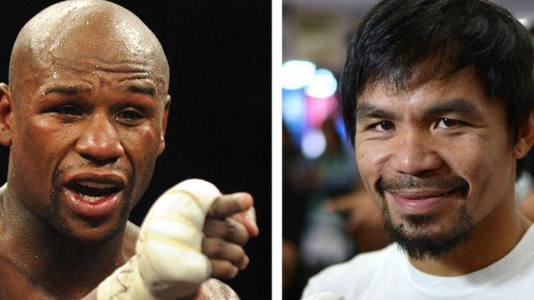 Les deux boxeurs Floyd Mayweather et Manny Pacquiao
