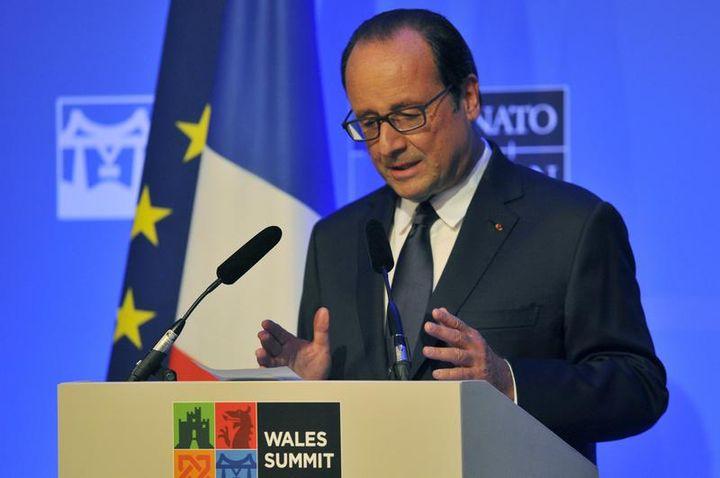 François Hollande lors du dernier jour du sommet de l'Otan au Celtic Manor resort, près de Newport (pays de Galles, Royaume-Uni), le 5 septembre 2014. (REBECCA NADEN / X03075)