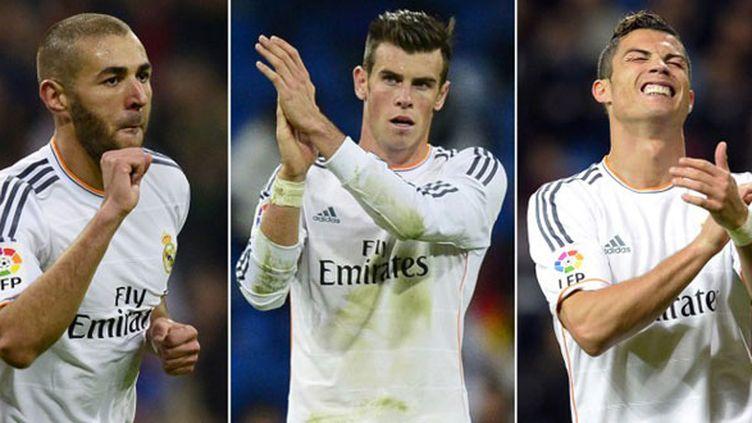Les joueurs du Real Madrid, Karim Benzema, Gareth Bale et Cristiano Ronaldo
