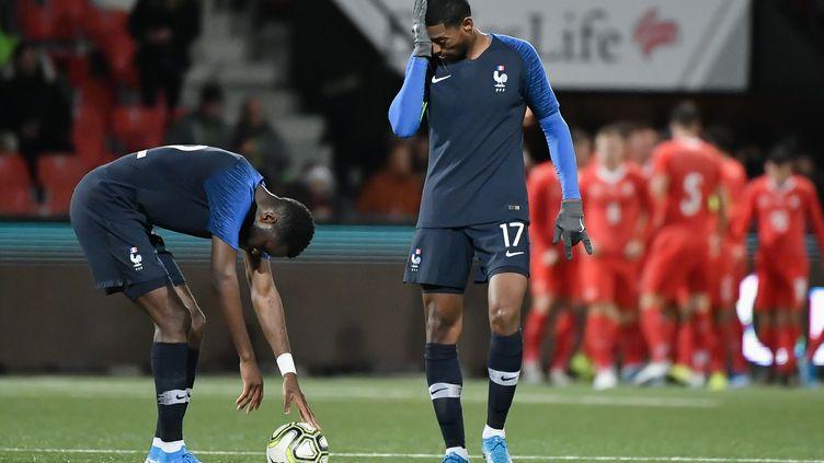 Odsonne Edouard avec le ballon encore buteur avec les Bleuets  (FABRICE COFFRINI / AFP)