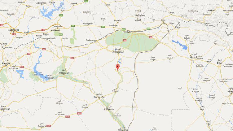 Une frappe américaine a visé des membres du groupe Etat islamique à Al Chaddadeh, en Syrie, le 4 mars 2016. (GOOGLE MAPS)