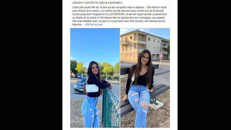 Capture d'écran du post posté par la soeur de la jeune fille disparue samedi 26 septembre en Isère. (CAPTURE D'ECRAN FACEBOOK)