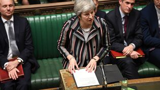 La Première ministre britannique, Theresa May, le 26 novembre 2018, devant la Chambre des communes, à Londres. (JESSICA TAYLOR / UK PARLIAMENT / AFP)