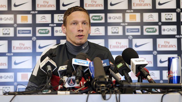 Clément Chantôme en conférence de presse (LIONEL BONAVENTURE / AFP)