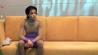 La patineuse Sarah Abitbol en janvier 2001 lors des championnats d'Europe à Bratislava (Slovaquie). (OLIVIER MORIN / AFP)