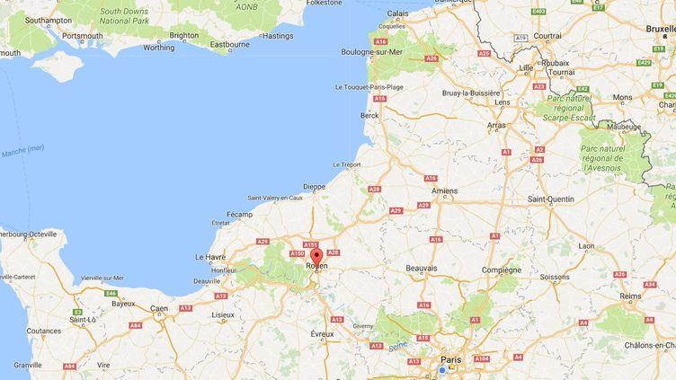 Capture d'écran de Google Maps pointant la ville de Rouen (Seine-Maritime). (GOOGLE MAPS)