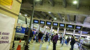 Des portiques anti-fraude sont testés sur les quais de la gare Montparnasse, à Paris, le 14 janvier 2016. (MAXPPP)