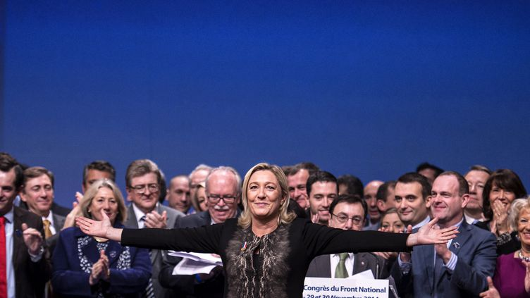 La présidente du Front national, Marine Le Pen, lors du congrès du parti à Lyon (Rhône), le 30 novembre 2014. (JEFF PACHOUD / AFP)