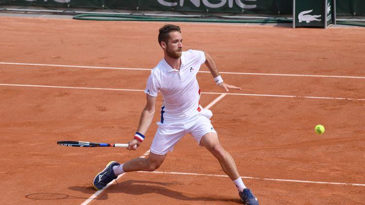 Constant Lestienne, ici à Roland-Garros en 2018, est le seul vainqueur français du jour (PHILIPPE LECOEUR / MAXPPP)