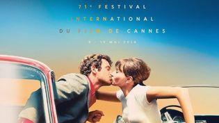 """L'affiche officielle du festival de Cannes 2018, qui montre Anna Karina et Jean-Paul Belmondo qui s'embrassent dans """"Pierrot le Fou"""", a été dévoilée le 11 avril 2018 (FESTIVAL DE CANNES)"""