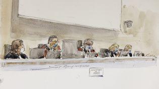 Les magistrats de la cour d'assises spéciale, le 16 septembre 2020, au procès des attentats de janvier 2015. (BENOIT PEYRUCQ / AFP)