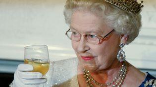 La reine Elizabeth II porte un toast en l'honneur du président américain Georges W. Bush à Washington, le 7 mai 2007. (SAUL LOEB / AFP)