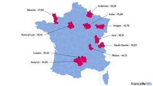 Les dix départements où le PS a le plus reculé entre le premier tour de l'élection présidentielle de 2012 et le premier tour des élections départementales de 2015. (FRANCETV INFO )