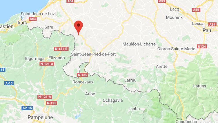 ÀBidarray (Pyrénées-Atlantiques), les habitants ont ressenti des secousses, vendredi 22 mars 2019. (CAPTURE ECRAN GOOGLE MAPS)
