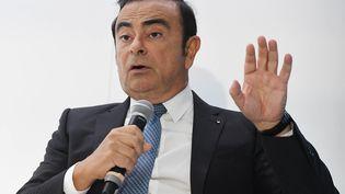 Le PDG de Renault-Nissan, Carlos Ghosn, lors d'une conférence de presse à Paris en septembre 2016. (ULI DECK / MAXPPP)