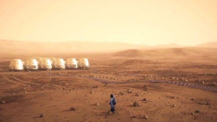 Une vue d'artiste représentant des membres de la mission Mars One et leur colonie, sur la planète rouge. (EYEPRESS NEWS/AFP)