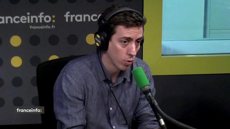 Laurent Richard, fondateur de l'organisation Forbidden stories, le 18 avril 2018 sur franceinfo. (FRANCEINFO)