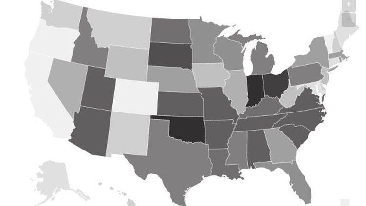 La carte des États-Unis selon la législation par rapport à l'IVG. (CHADI ROMANOS/ RADIOFRANCE)