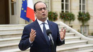 François Hollande lors d'une conférence de presse devant la préfecture de Côte-d'Or, le 23 juillet 2015. (BERTRAND GUAY / AFP)