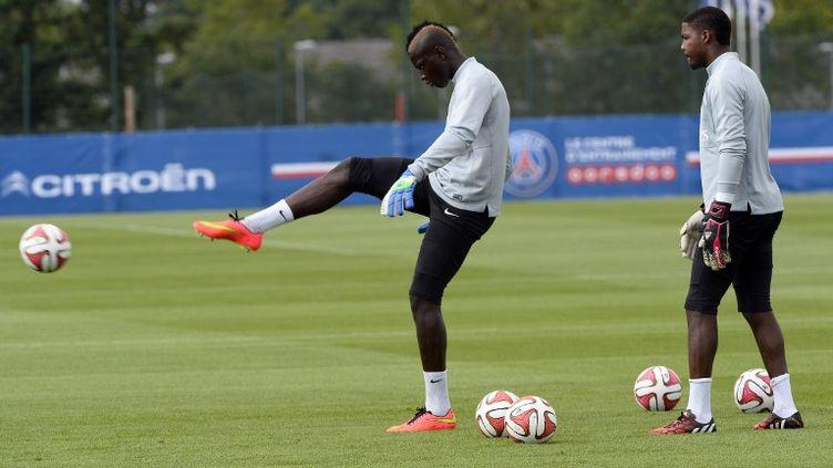 Mory Diaw lors d'un entraînement du PSG, le 7 août 2014, à Saint-Germain-en-Laye (Yvelines). (BERTRAND GUAY / AFP)