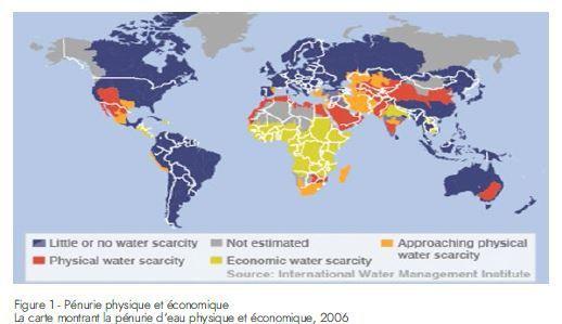 La carte montrant la pénurie d'eau en 2006 (  Document de travail de l'initiative «Water for Africa»)