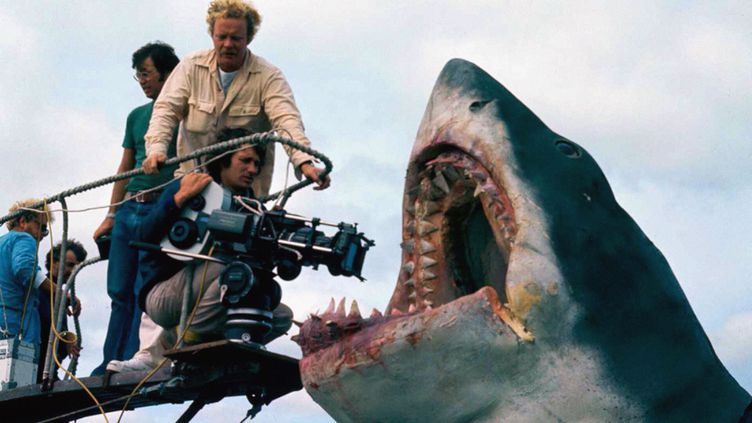 """Steven Spielberg sur le tournage du film """"LEs dents de la mer"""", 1975 (UNIVERSAL - ZANUCK-BROWN)"""