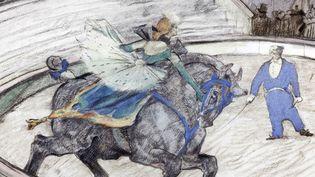 Dessin de Toulouse-Lautrec : numéro de dressage de cheval  (coll_jp_gimbergues)