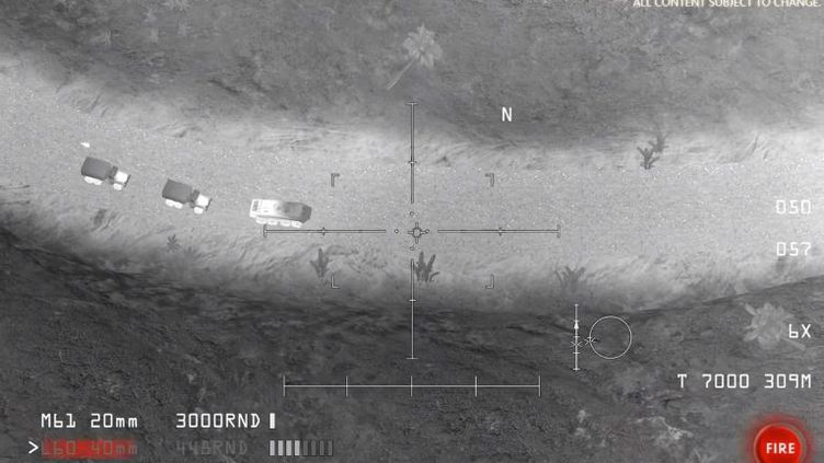 """Capture d'écran du jeu vidéo utilisé par le ministère russe de la Défense dans son tweet, """"AC-130 Gunship Simulator"""". (YOUTUBE.COM)"""