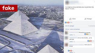 Capture d'écran montrant les images des pyramides de Gizeh, soi-disant sous la neige. (CAPTURE D'ECRAN/FACEBOOK)