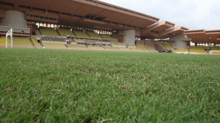 La pelouse innovante et plus respectueuse de l'environnement du Stade Louis II de Monaco permet au club de réduire sa consommation d'eau et l'utilisation de produits phytosanitaires.    (ERIC DULIERE / MAXPPP)