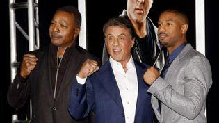 """Carl Weather, Sylvester Stallone et Michael B.Jordan à Los Angeles pour la première de """"Creed""""  (Lumeimages.com / Nurphoto / AFP)"""