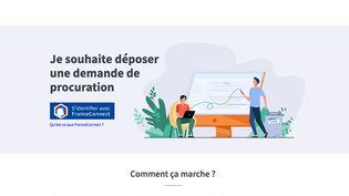 Capture d'écran du site maprocuration.gouv.fr, lequel permet de déposer une demande de procuration en ligne, à partir du 6 avril 2021. (MAPROCURATION.GOUV.FR)