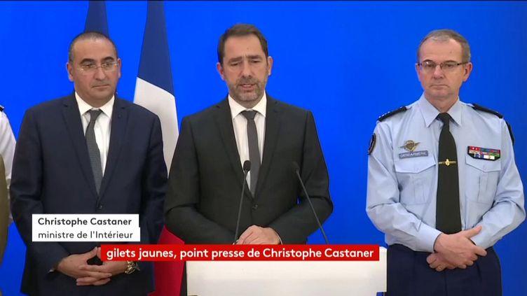 """Le ministre de l'Intérieur Christophe Castaner lors d'un point-presse sur les """"gilets jaunes"""", samedi 24 novembre 2018 à Paris. (FRANCEINFO)"""