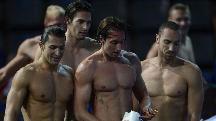 Giacomo Perez Dortona, Camille Lacourt, Fabien Gilot et Jérémy Stravius à la sortie des séries du 4x100 4 nages
