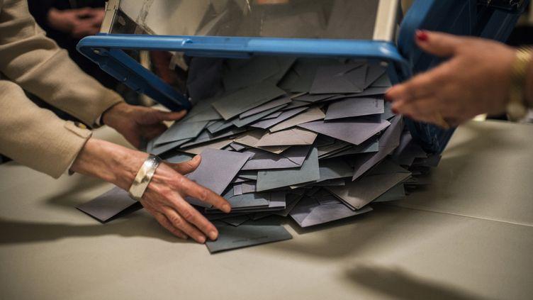 Le dépouillement des votes à Lyon (Rhône), le dimanche 23 mars 2014. (JEFF PACHOUD / AFP)