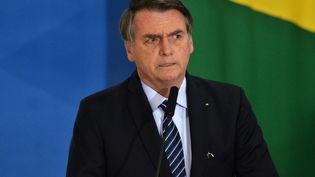 Le président brésilien Jair Bolsonaro à Brasilia, le 29 août 2019. (RENATO COSTA / FRAMEPHOTO / AFP)