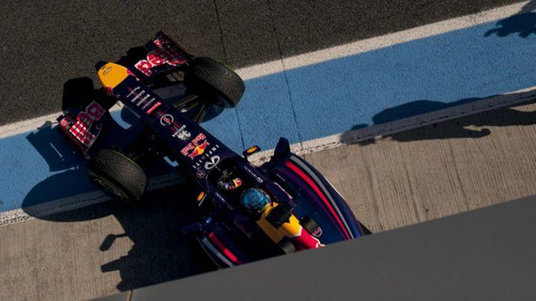 La Red Bull de Sebastian Vettel a des problèmes avec son nouveau moteur V6 renault (JORGE GUERRERO / AFP)