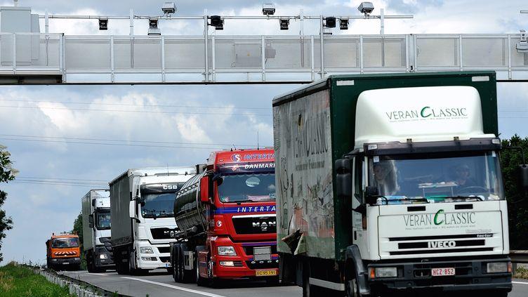 Des camions passant sous un portail de contrôle qui vérifie s'ils ont payé l'écotaxe, le 27 juin 2013 sur l'autoroute A25 près d'Armentières, dans le Nord. (PHILIPPE HUGUEN / AFP)